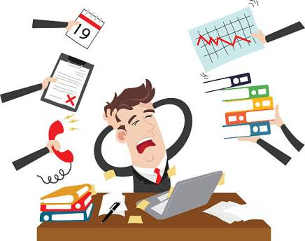 Clipart picture of an exhausted and stressed businessman cartoon character